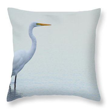 Egret Stance Throw Pillow by Karol Livote