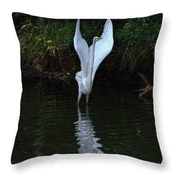 Throw Pillow featuring the photograph Egret Take Off by Charlotte Schafer