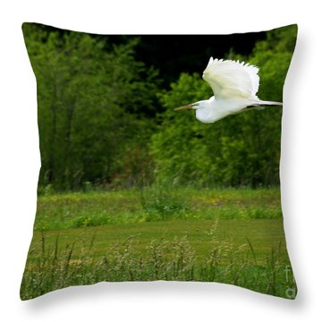 Egret's Flight Throw Pillow