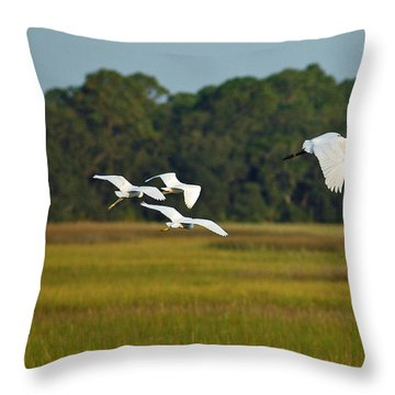 Egrets In Flight On Jekyll Island Throw Pillow by Bruce Gourley