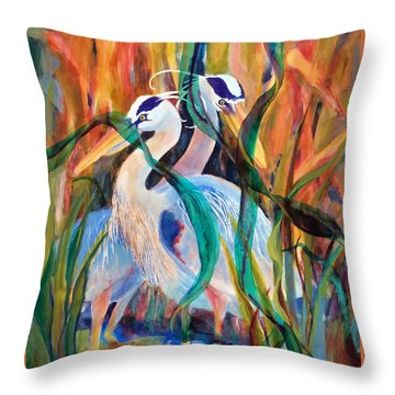 Egrets In Red 2            Throw Pillow by Kathy Braud