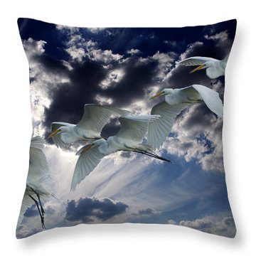 Egrets In Succession Throw Pillow