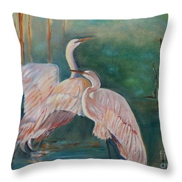 Egrets In The Mist Throw Pillow