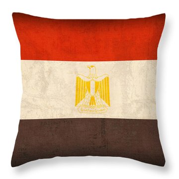 Egypt Flag Distressed Vintage Finish Throw Pillow by Design Turnpike