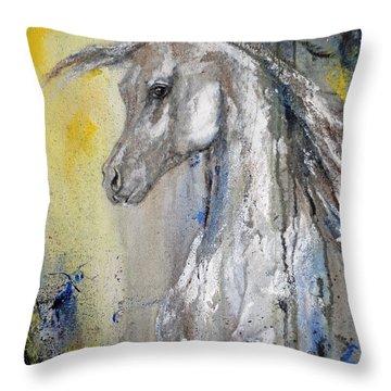 Throw Pillow featuring the painting Egyptian Arabian Horse by Jennifer Godshalk