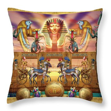 Hieroglyphs Digital Art Throw Pillows