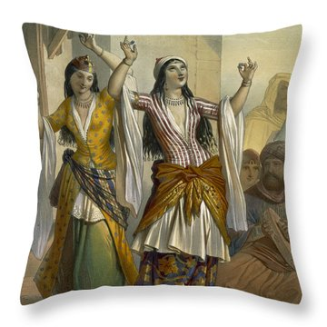 Egyptian Dancing Girls Performing Throw Pillow by Emile Prisse d'Avennes