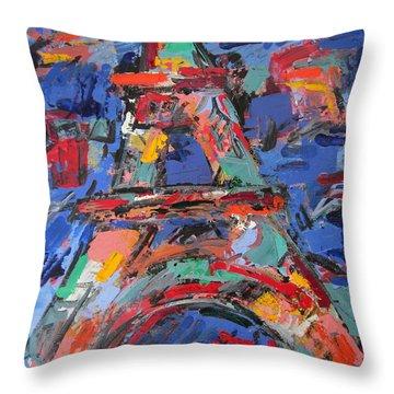 Eiffel Blue Throw Pillow