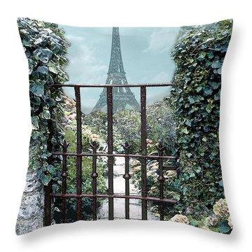 Eiffel Garden In Blue Throw Pillow