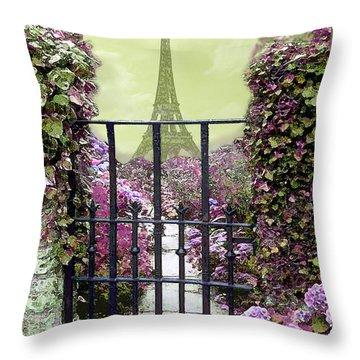 Eiffel Garden Throw Pillow