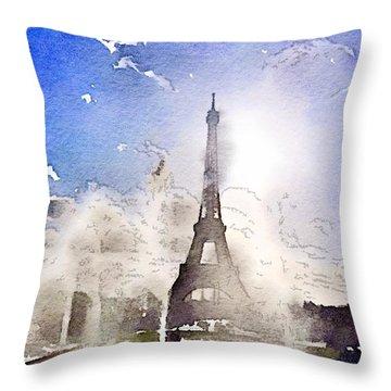 Eiffel During Summer Throw Pillow