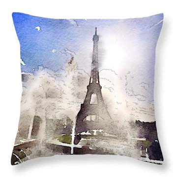 Eiffel During Summer Throw Pillow