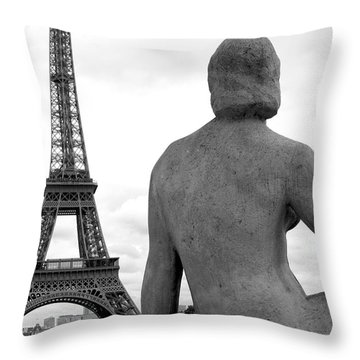 Throw Pillow featuring the photograph Eiffel Lady by Lisa Parrish