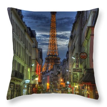Eiffel Over Paris Throw Pillow