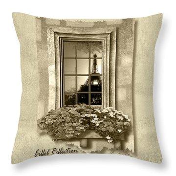 Eiffel Reflection In Sepia Throw Pillow