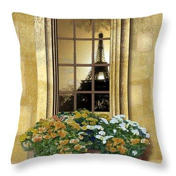 Eiffel Reflection Throw Pillow