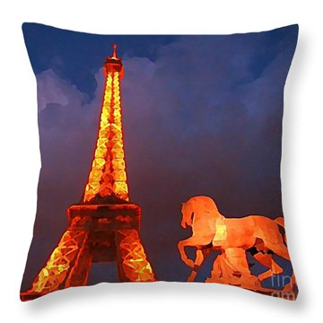 Eiffel Tower And Horse Throw Pillow by John Malone
