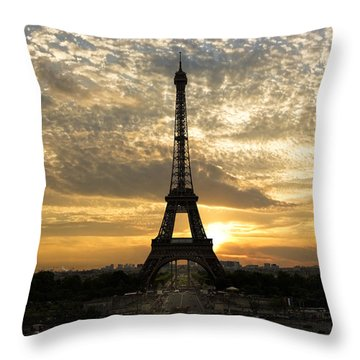 Eiffel Tower At Sunset Throw Pillow by Debra and Dave Vanderlaan