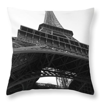 Eiffel Tower B/w Throw Pillow by Jennifer Ancker