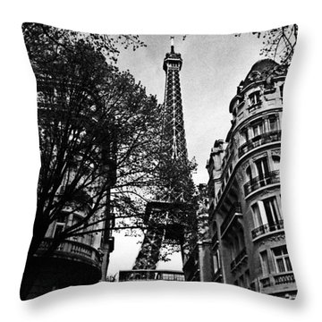 Eiffel Tower Black And White Throw Pillow by Andrew Fare