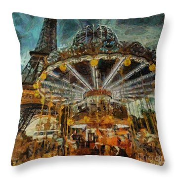 Eiffel Tower Carousel Throw Pillow by Dragica  Micki Fortuna