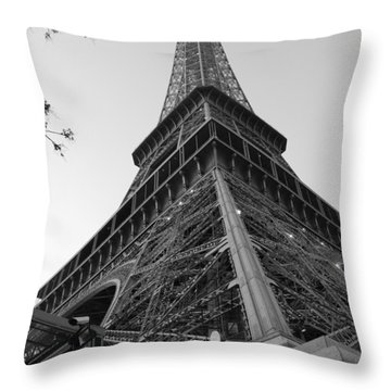 Throw Pillow featuring the photograph Eiffel Tower In Black And White by Jennifer Ancker