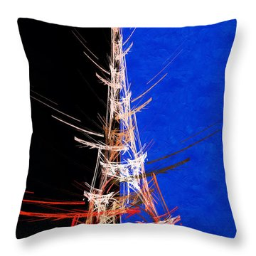 Eiffel Tower In Red On Blue  Abstract  Throw Pillow by Andee Design