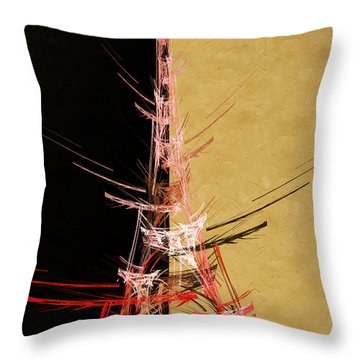Eiffel Tower In Red On Gold  Abstract  Throw Pillow by Andee Design