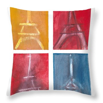Eiffel Tower Paintings Of 4 Up Throw Pillow by Robyn Saunders