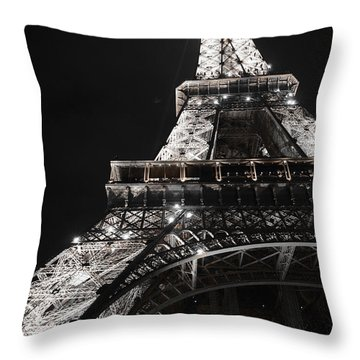 Eiffel Tower Paris France Night Lights Throw Pillow