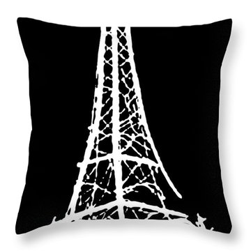 Eiffel Tower Paris France White On Black Throw Pillow