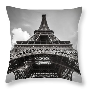 Eiffel Tower Paris In Black And White Throw Pillow