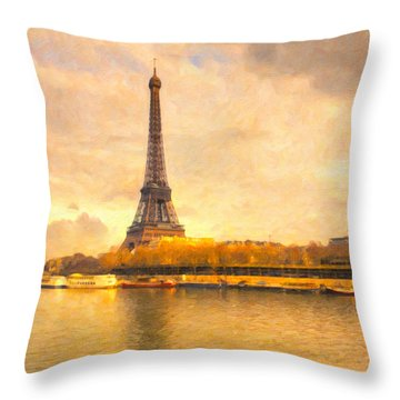 Eiffel Tower - Paris In Pastel Throw Pillow