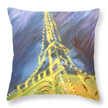 Eiffel Tower Paris Night Throw Pillow by PainterArtist FIN