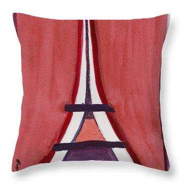 Eiffel Tower Red White Throw Pillow
