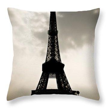 Eiffel Tower Silhouette Throw Pillow by Nila Newsom