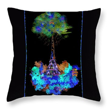 Throw Pillow featuring the painting Eiffel Tower Topiary by Paula Ayers