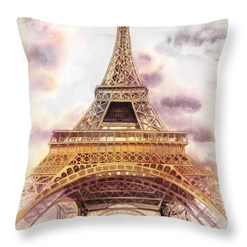 Throw Pillow featuring the painting Eiffel Tower Vintage Art by Irina Sztukowski