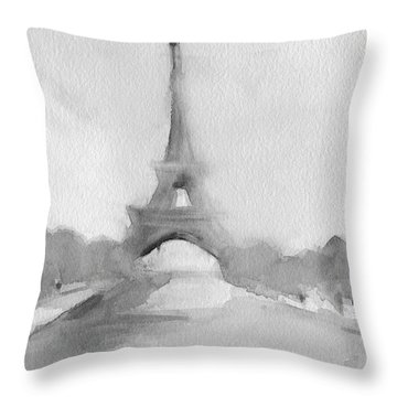 Eiffel Tower Watercolor Painting - Black And White Throw Pillow