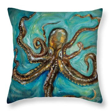 Eight Arms Throw Pillow by Linda Olsen