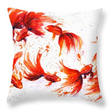 Eight Dancing Goldfish  Throw Pillow by Zaira Dzhaubaeva