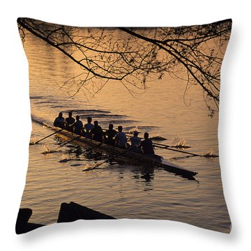 Eight Man Crew Rowing Along Montlake Cut  Throw Pillow