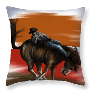 Eight Seconds - Rodeo Bronco Throw Pillow