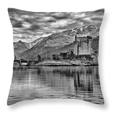 Eilean Donan - A Reflection Without Colour Throw Pillow