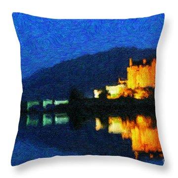 Eilean Donan At Night Throw Pillow