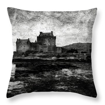 Eilean Donan Castle In Scotland Bw Throw Pillow