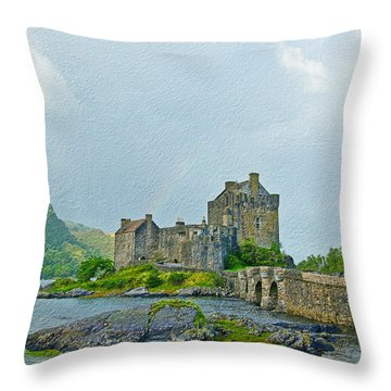 Eilean Donan Castle Textured 2 Throw Pillow