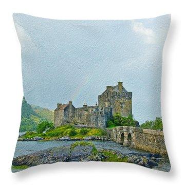 Eilean Donan Castle Textured 2 Throw Pillow