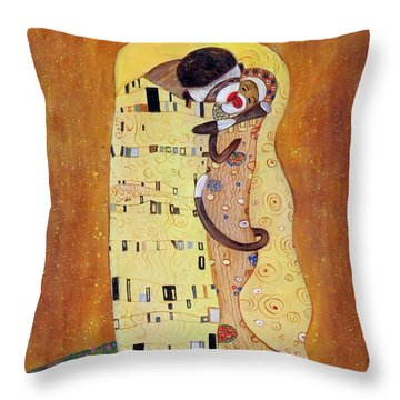 Throw Pillow featuring the painting The Smooch by Randol Burns