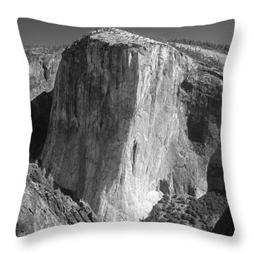 106663-el Capitan From Higher Cathedral Spire, Bw Throw Pillow